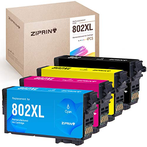 ZIPRINT Remanufactured Ink Cartridge Replacement for Epson T802 802XL 802 XL for Epson Workforce Pro WF-4730 WF-4734 WF-4740 WF-4720 Printer (Black,Cyan,Magenta,Yellow 4-Pack)