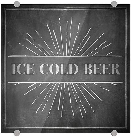 CGSignLab Ice Cold Beer 5-Pack Chalk Burst Premium Brushed Aluminum Sign 16x16