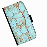 Hairyworm - Blue painted wood Acer Liquid Z220 leather side flip wallet cell phone case, cover with card slots, money slot and magnetic clasp to close.