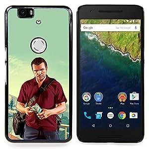 """Qstar Arte & diseño plástico duro Fundas Cover Cubre Hard Case Cover para Huawei Google Nexus 6P (G T A - Michael Poster"""")"""