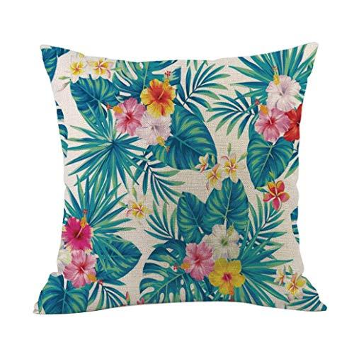 MaxFox 4PC Cotton Linen Throw Pillow Cover 18 x 18 Inch Pillow Cover for Sofa Bedroom Car Decor by MaxFox