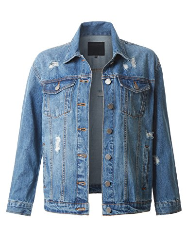 Fitted Denim Jacket - RubyK Womens Distressed Long Sleeve Ripped Boyfriend Denim Jacket