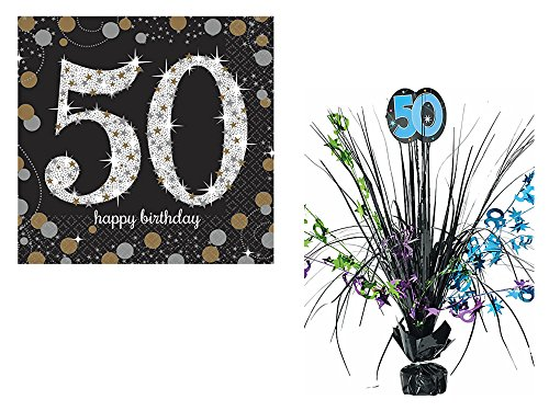 50 Centerpiece Spray (Set of 16 Sparkling Celebration 50th Beverage Napkins and The Party Continues 50th Birthday Green and Blue Spray Centerpiece bundled by Maven Gifts)