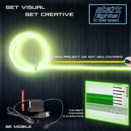 10m/32.8ft Large 3.2 mm Thick - Lime Green Neon LED Light Glow EL Wire - Powered by USB Port - Electroluminescent Wire String Light for DIY Project Costume Accessories -