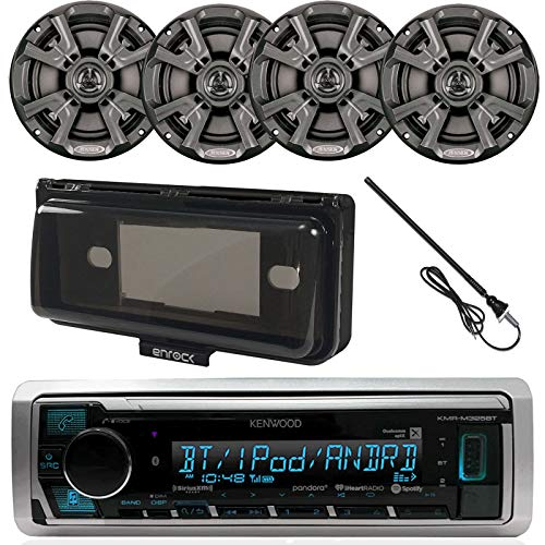 Scosche Performance Series - Kenwood KMR-M315BT MP3/USB/AUX Bluetooth Marine Boat Yacht Stereo Receiver Bundle Combo With 4 x Infinity 612m 6.5 2-Way Speakers + Scosche Waterproof Stereo Cover = Enrock 22 Radio Antenna