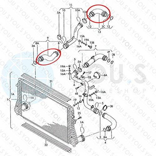 3C0145828K Ladeluftschlauch Innendurchmesser ca 49//55 mm YOU.S Original 3C0145834L 36//53 mm
