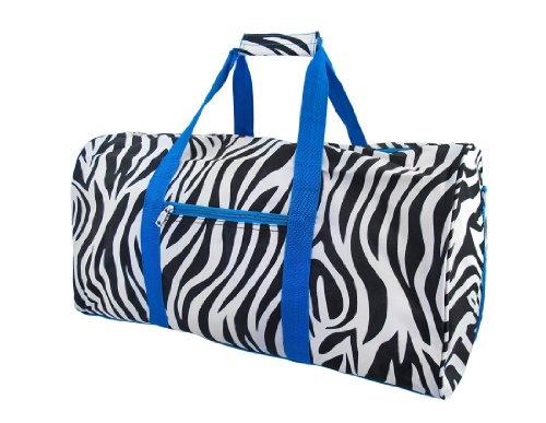World Traveler Blue Zebra Gym Duffle Bag 21-inch