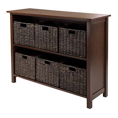 Granville Storage Shelf - Winsome Granville 2-Section 7-Piece Storage Shelf Wide with 6-Foldable Baskets
