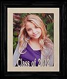 8x10 Class of 2012 Portrait Senior/Graduate School Photo Keepsake Frame ~ Laser Cut Cream Mat with Frame (BLACK)