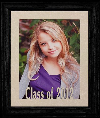 8x10 Class of 2012 Portrait Senior/Graduate School Photo Keepsake Frame ~ Laser Cut Cream Mat with Frame (BLACK)