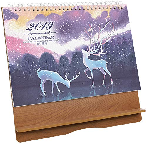 2019 Wood Calendar Schedule Plan Planificador de calendario de escritorio pequeño para estudiantes o cosas#8