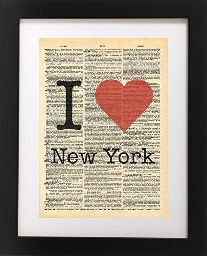 Amazon.com: I Heart New York NYC - Vintage Dictionary Print 8x10 ...