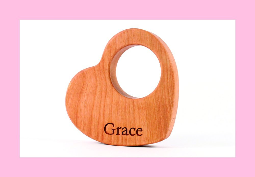 heart RATTLE - wooden baby toy, personalized and all natural keepsake baby shower gift, gender neutral, handmade modern wood toys