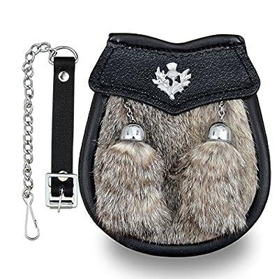 Boy Semi Dress Grey Rabbit Fur Kilt Sporran with a Thistle Emblem & Chain Belt