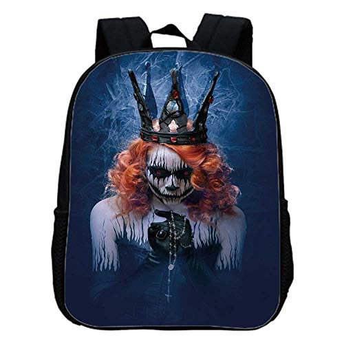 Queen Fashion Kindergarten Shoulder Bag,Queen of Death Scary Body Art Halloween Evil Face Bizarre Make Up Zombie For Hiking,One_Size