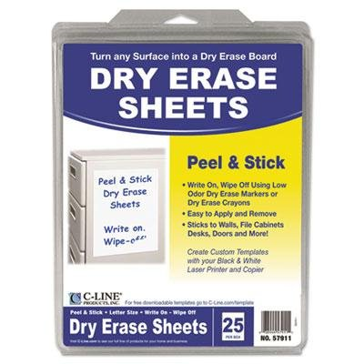 Brand New C-Line Peel And Stick Dry Erase Sheets 8 1/2 X 11 White 25 Sheets/Box