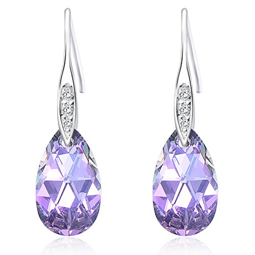 [Queenees Sterling Silver Made with Swarovski Elements Crystals Vitrial Light Purple Drop Pierced] (Ideas For Halloween Costumes 2016 Couples)
