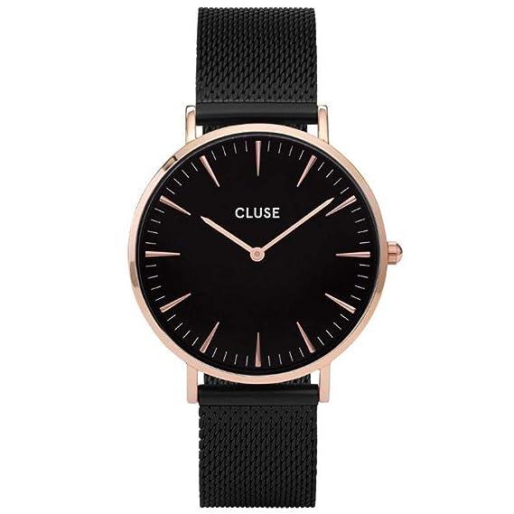 Amazon.com: CLUSE La Bohème Mesh Rose Gold Black Black CL18034 Womens Watch 38mm Stainless Steel Strap Minimalistic Design Casual Dress Japanese Quartz ...