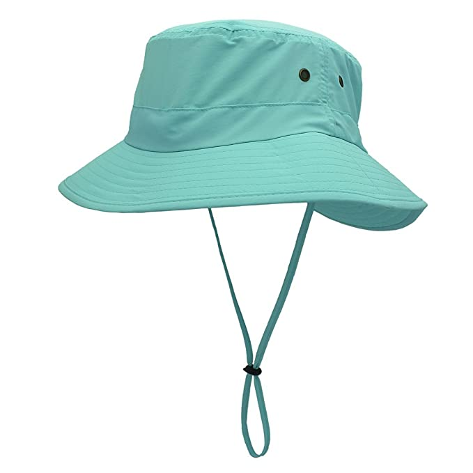 LLmoway Outdoor UPF50+ Summer Sun Cap Lightweight Packable Dry Fit Bora Boonie  Hat with Cords AQU 26e162d7c90