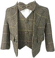 Baby Boys Tan Brown Herringbone Check Tweed 5 Piece Suit Set