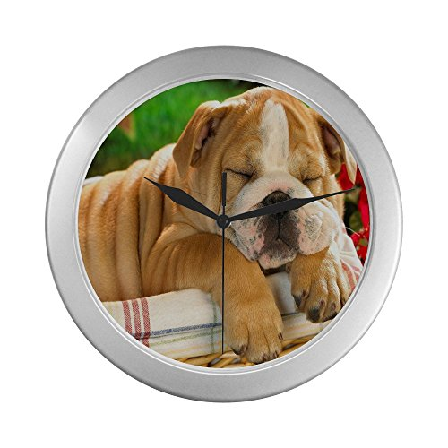 Bulldog Decorative Silver Rimmed Clock for the Living Room and Kitch