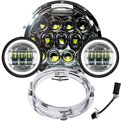 DOT Approved 7 inch LED Headlight 4.5 inch Fog Passing Lights Ring Motorcycle Headlamp for Harley Davidson Touring Road King Heritage Softail Deluxe Fatboy Ultra Classic Electra Street Glide Tri ()