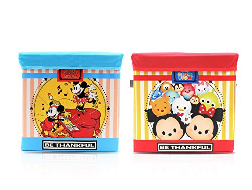 finex-set-of-2-tsum-tsum-mickey-minnie-mouse-collapsible-cube-box-storage-bin-with-lid-folding-ottom