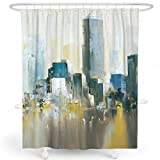 City Scene Shower Curtain LIVETTY Shower Curtain, Oil-Painting New York City Scene Modern View Water-Proof Fabric for Bathroom Decor (Yellow, 72 X72)
