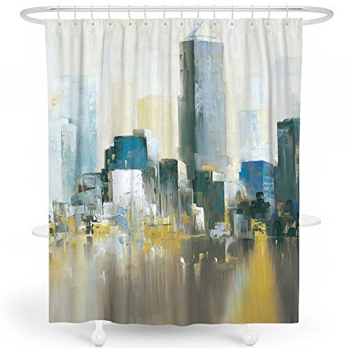 (LIVETTY Father's Day Shower Curtains Bathroom Blue Oil Painting New York City Scene Modern View Shower Curtain Set Polyester Machine Wash 72x72 Inch Hooks Included)