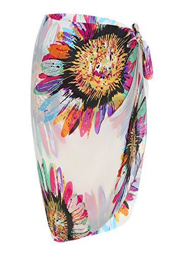 46ad13432a Huiyuzhi Womens Swimsuit Cover up Bathing Suit Swimwear Cover Ups Beach  Sarong Wrap Chiffon Cover up (One Size, 2-White)