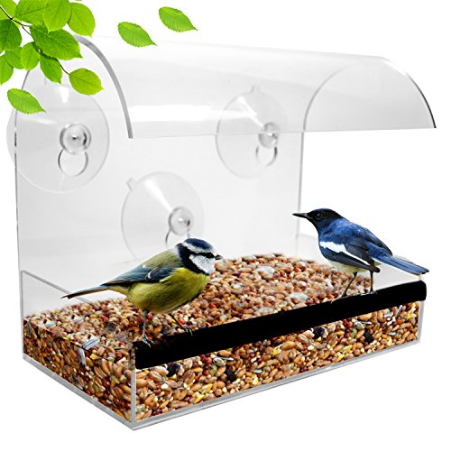 Window Bird Feeder - Bird Feeders For Outside - Acrylic Bird Feeder Window - Modern Bird Feeder With See Through Bird Feeder – The Best Gifts For Bird Lovers Women and Elderly Mother by Natupics