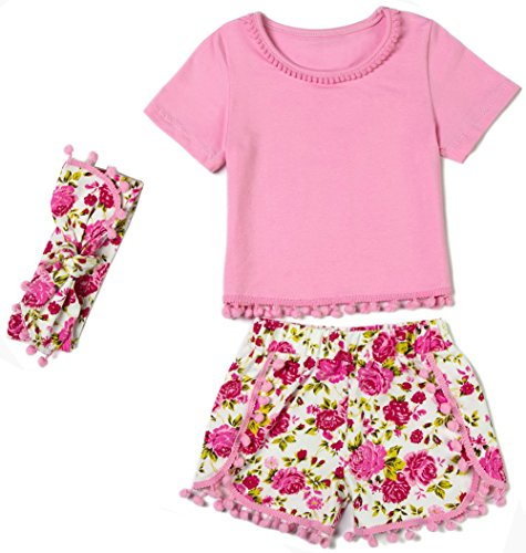 Messy Code Girls outfit Pink T - shirt Rose Print Shorts Toddlers Gold Dot Pompom Clothing set 3 T, Pink FLO, Large / 2 - (Pretty Girl Outfits)