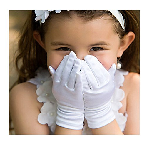 Girl's Holiday, Wedding, or Pageant White Satin Gloves Princess Glove -