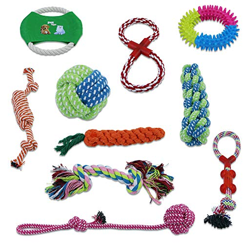 Kisrun Dog Rope Toys – 10 Pack Nearly Indestructible Best Toys for Puppies, Dog Flying Disc, Puppy Chew, Washable Cotton…