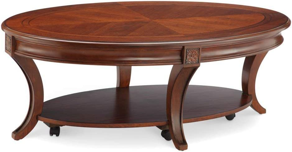 """Magnussen T4115-47 Winslet Oval Cocktail Table with Casters, 18.5"""" x 50"""" x 30"""""""