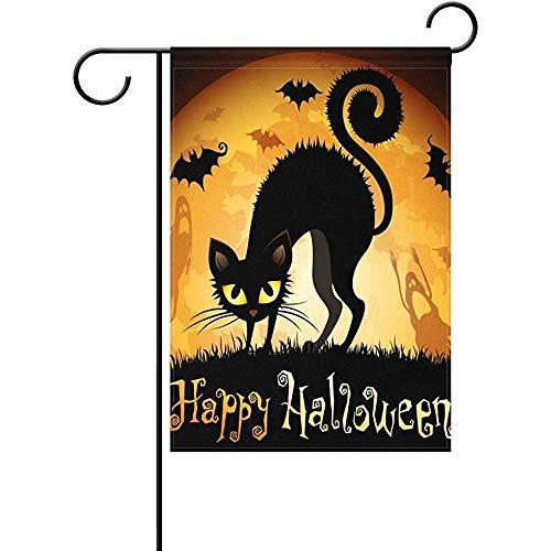 (HUVATT Happy Halloween Black Cats Bats Pattern Home Flags Double-Sized Print Decorative Holiday Garden Flag,ES 12 x 18)