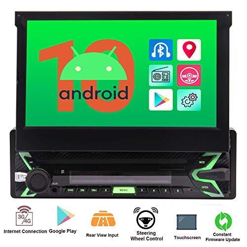 "Single Din Car Radio Android 10.0 Q OS Car Stereo with 7"" Capacitive Touch Screen in Dash GPS Navigation Headunit 1Din Bluetooth Video Player Detachable Face Panel/SWC/WiFi/AM FM Radio/Screen Mirror"