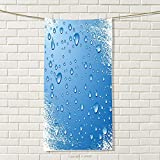 smallbeefly Grunge Travel Towel Realistic Water Drops Bubbles on Worn Scratched Looking Backdrop Freshness Purity Quick-Dry Towels Blue White Size: W 27.5'' x L 34''
