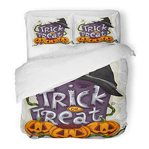 Emvency 3 Piece Duvet Cover Set Brushed Microfiber Fabric Breathable Cartoon Halloween of Tombstone with Trick Treat Written on It Spooky Clipart Bedding Set with 2 Pillow Covers King -
