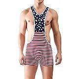 iooico Men's Wrestling Singlet, American Flag Print Sport Bodysuit Underwear Large