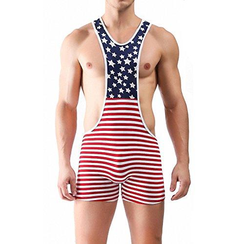 (iooico Men's Wrestling Singlet, American Flag Print Sport Bodysuit Underwear Large)