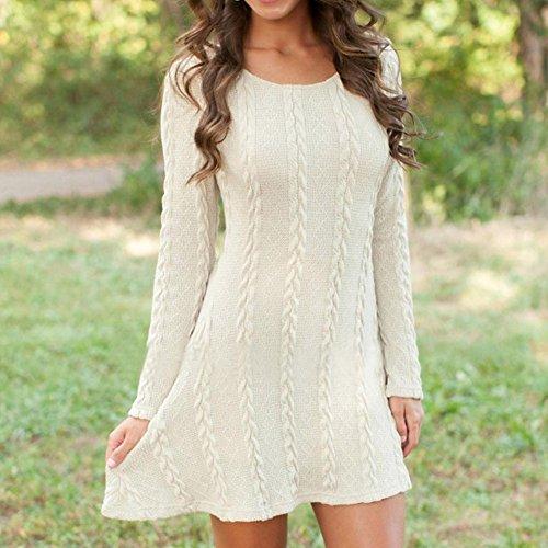 Tongshi Vestido larga mujer manga puente delgado Casual Mini suéter de punto Blanco
