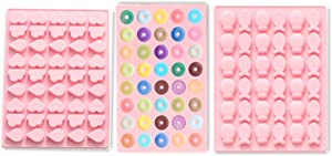 inspireLAB Gummy Silicone Candy & Chocolate Molds, DIY Gelatin Gummies, Ice Cube, Include Shaped Of Mini Donuts, Heart, Fish, Pack of 3 With 1 Dropper