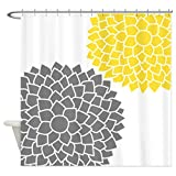 CafePress - Zen Flowers gray yellow Shower Curtain - Decorative Fabric Shower Curtain