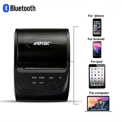 AGPtek Thermal Receipt Printer, Impact Bluetooth/USB Wireless Mobile POS Receipt Printer for PC, Android, Iphone, Ipad - 58mm, Power by Rechargeable Battery