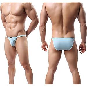 YuKaiChen Men's Silk Underwear String Bikini Briefs Low Rise