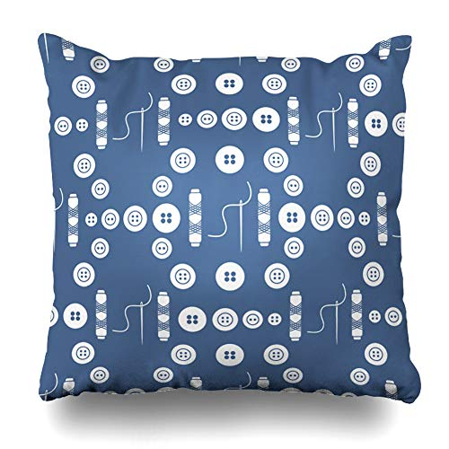Ahawoso Throw Pillow Cover Pillowcase Seam Clasp Needles Buttons Threads Sewing Tailoring Adeptness Industrial Craft Craftsmanship Creative Zippered Square Size 16 x 16 Inches Home Decor Cushion Case