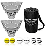 BucketBall - Team Color Edition - Combo Pack (Silver/Silver): Original Yard Pong Game: Best Camping, Beach, Lawn, Outdoor, Family, Adult, Tailgate Game