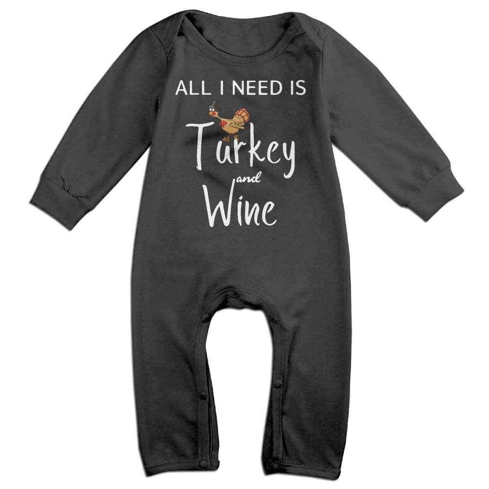 TYLER DEAN Toddler Baby Boy Girl Long Sleeve Jumpsuit All I Need is Turkey and Wine 3 Kid Pajamas