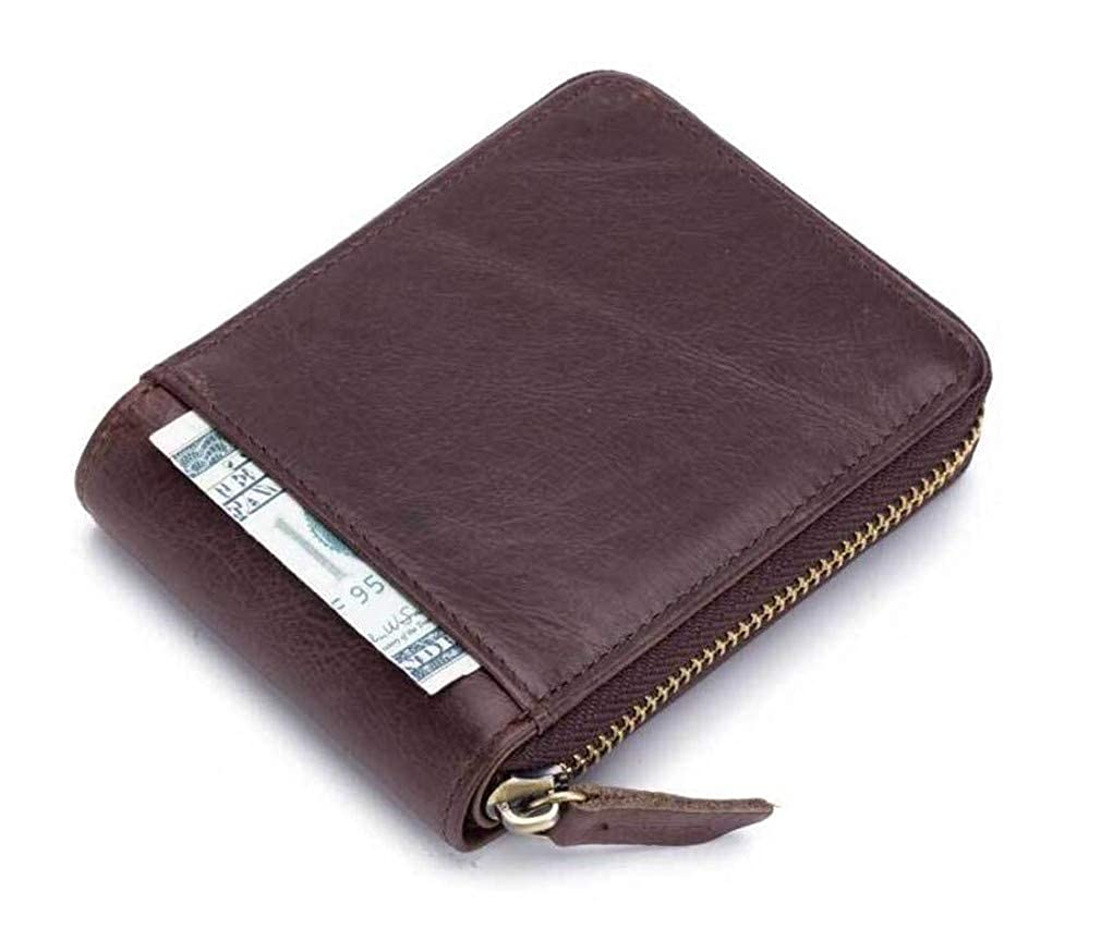 Youngate Mens Leather Wallets RFID Blocking Zipper Bifold Purse Credit Card Holder